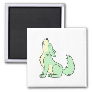 Howling Pastel Green Wolf Square Magnet
