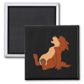 Howling Red Werewolf Pup Square Magnet