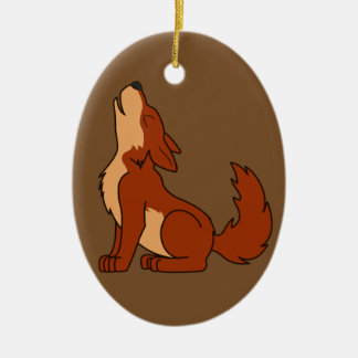 Howling Red Wolf with Natural Markings Ceramic Oval Decoration