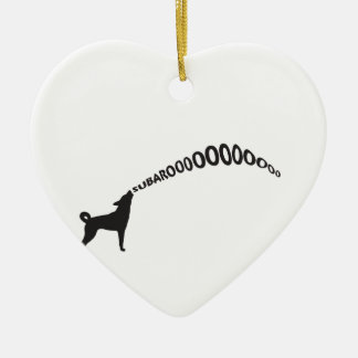 Howling Subaru Dog Ceramic Heart Decoration