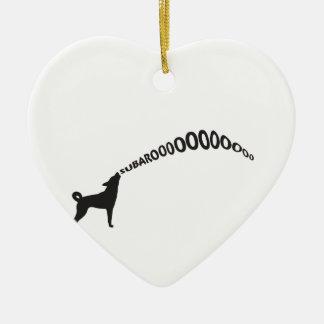 Howling Subaru Dog Ceramic Heart Decoration