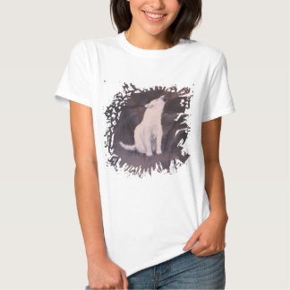 """Howling White Wolf"" Ladies Baby Doll T-shirt"
