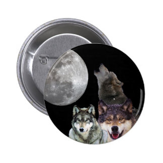 Howling Wolf 6 Cm Round Badge