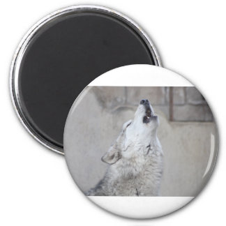 Howling Wolf 6 Cm Round Magnet