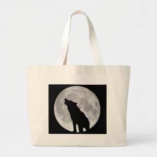 Howling Wolf and Moon Canvas Bag