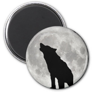 Howling Wolf and Moon Fridge Magnets