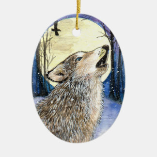 Howling - Wolf Art Christmas Ornament