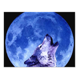 Howling Wolf at Moon 11 Cm X 14 Cm Invitation Card