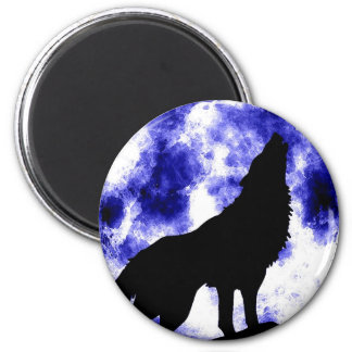 Howling Wolf at Moon 6 Cm Round Magnet