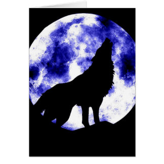 Howling Wolf at Moon Card