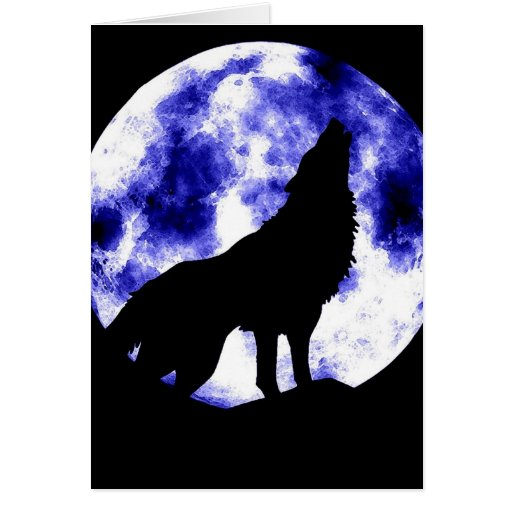 Howling Wolf at Moon Greeting Card