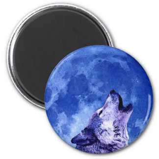 Howling Wolf at Moon Magnet