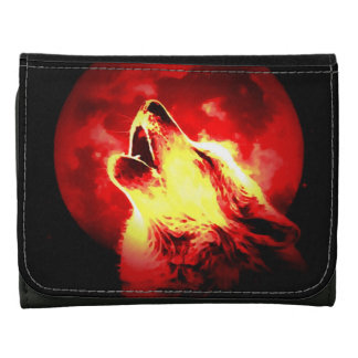 Howling Wolf at Red Night Wallet