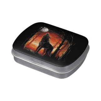 Howling Wolf at Sunset Candy Tin