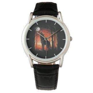 Howling Wolf at Sunset Classic Watch