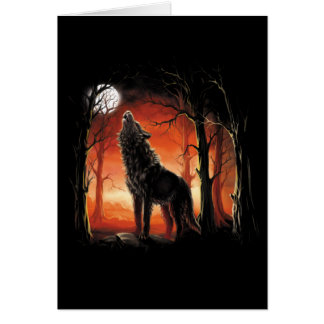 Howling Wolf at Sunset Greeting Card