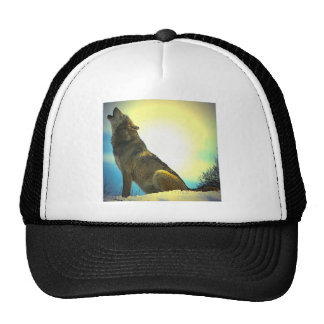 Howling Wolf at Sunset Mesh Hat