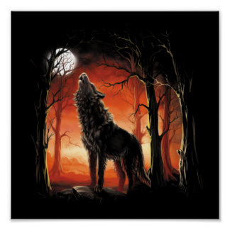 Howling Wolf at Sunset Mini Poster