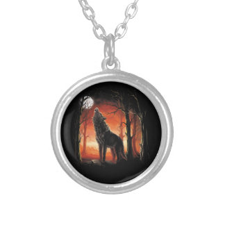 Howling Wolf at Sunset Necklace