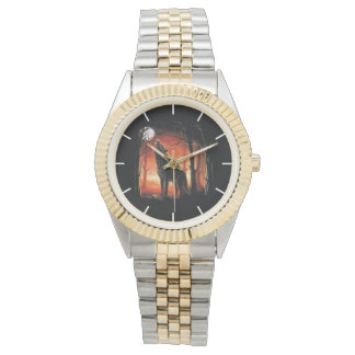 Howling Wolf at Sunset Two-Tone Bracelet Watch