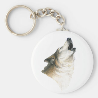 Howling Wolf Basic Round Button Key Ring