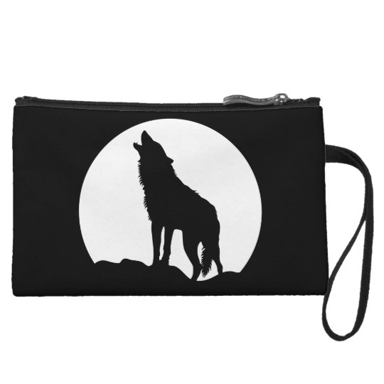Howling wolf black wristlet pouch small bag