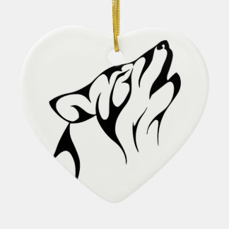 Howling Wolf Ceramic Heart Decoration