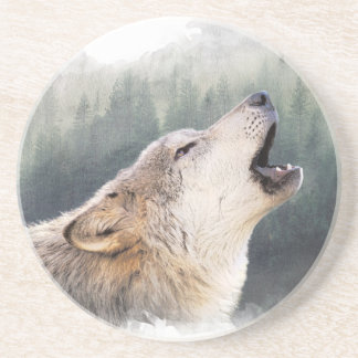 Howling wolf drink coasters