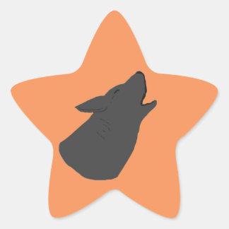 Howling Wolf Face Star Sticker