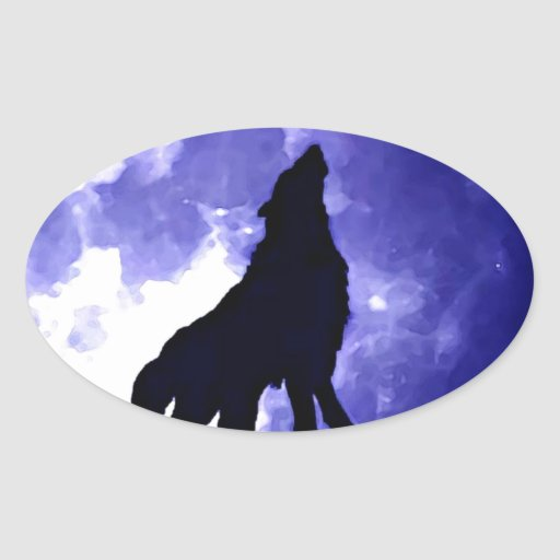 Howling Wolf & Fullmoon Oval Stickers