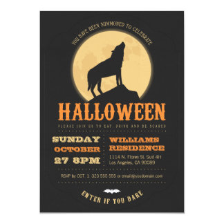Howling Wolf Halloween Party Invite