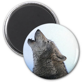 Howling Wolf in Snow 6 Cm Round Magnet