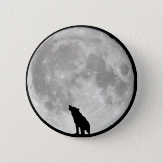 Howling Wolf Moon 6 Cm Round Badge