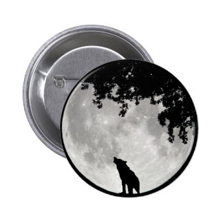 Howling Wolf Moon and Branches 6 Cm Round Badge