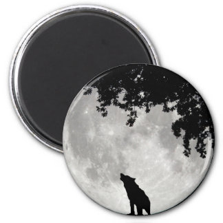 Howling Wolf Moon and Branches Refrigerator Magnet