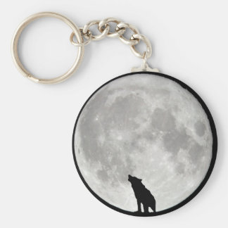 Howling Wolf Moon Basic Round Button Key Ring