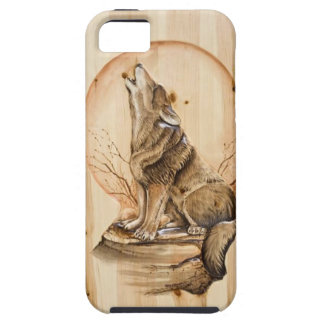 Howling Wolf on Carved Wood iPhone 5 Case