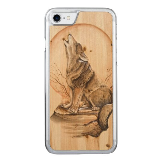 Howling Wolf on Maple Wood iPhone 6 Carved