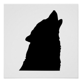 Howling Wolf Silhouette Print