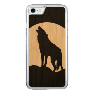 Howling wolf silhouette wood iPhone 6 Carved iPhone 8/7 Case