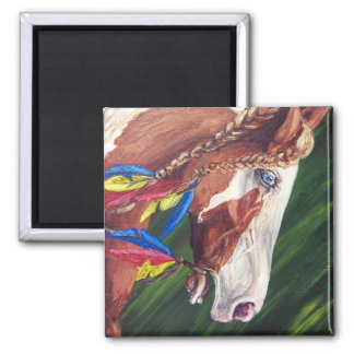"""""""Howling Wolf"""" Square Magnet"""