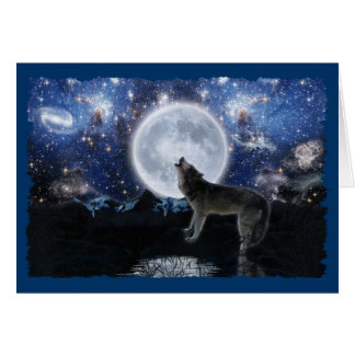 HOWLING WOLF, STARS & MOON Wildlife Card