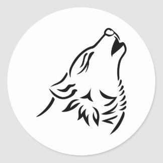 Howling wolf round stickers