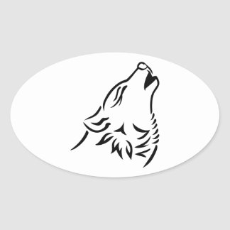 Howling wolf oval stickers