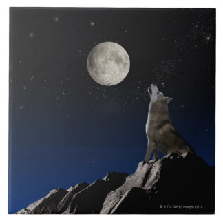 Howling Wolf Large Square Tile