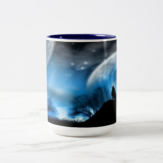 howling wolf Two-Tone coffee mug
