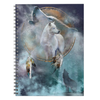 Howling Wolf with Dreamcatcher Spiral Notebook