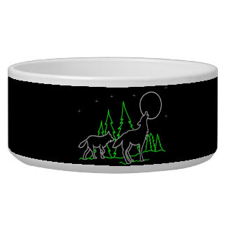 Howling Wolves Dog Food Bowl