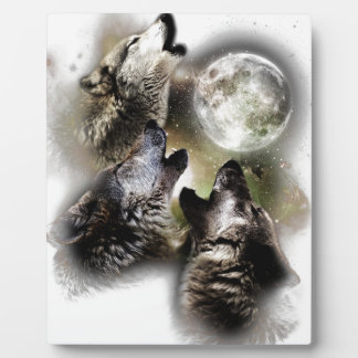 Howling Wolves Moon Plaque