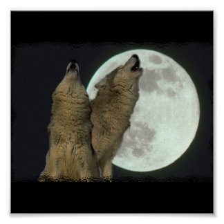 HOWLING WOLVES MOON PRINT